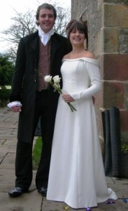 medieval celtic wedding dress and grooms frock coat with hand embroidery